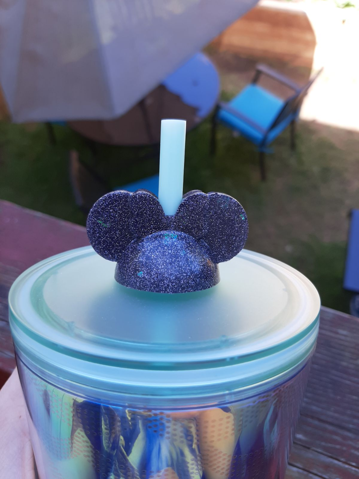 Holographic Mrs Mouse Straw Topper