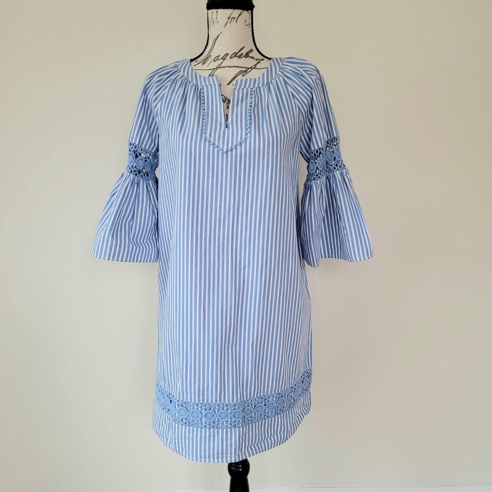 Crown & Ivy Striped Eyelet Blue Dress S