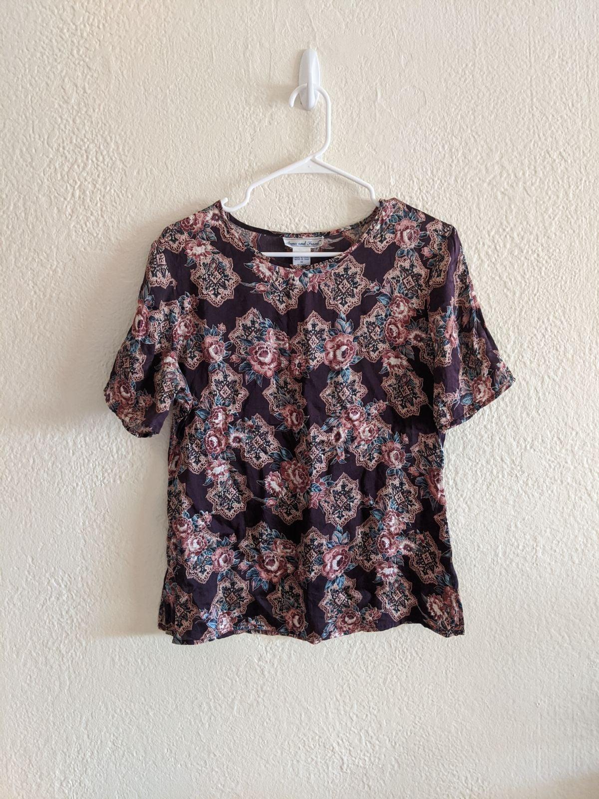 Vintage Silk Rose Blouse