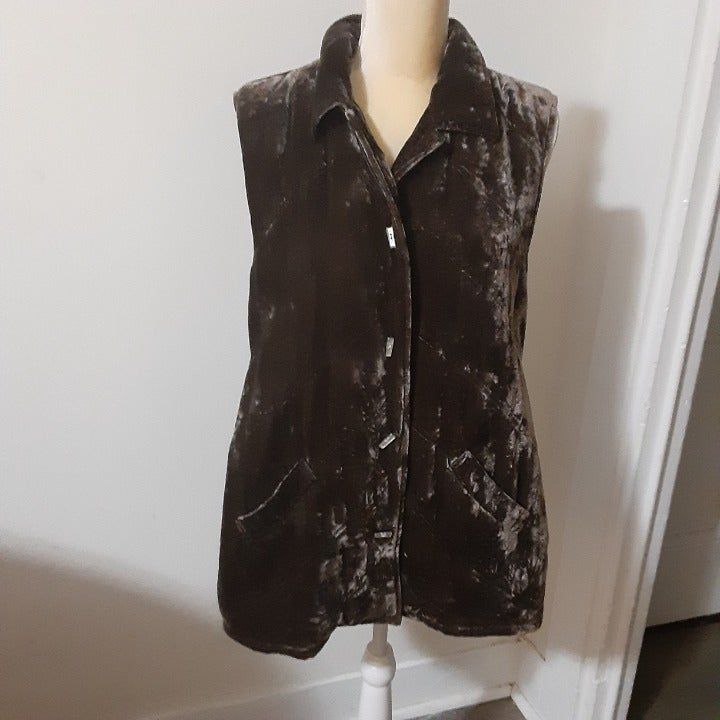 J Jill brown velvet quilted vest M rayon