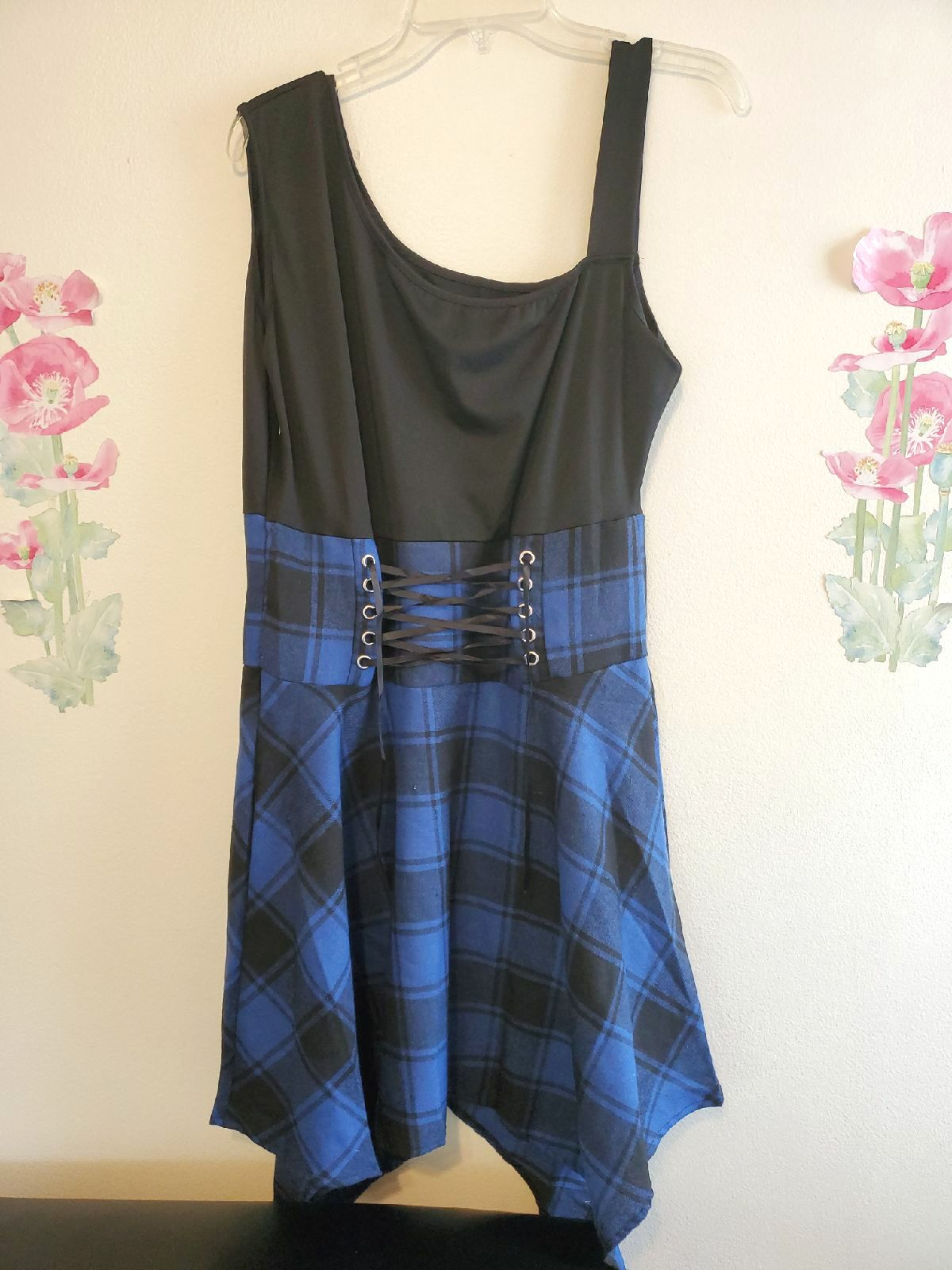 Women's blue summer sleeveless dress.