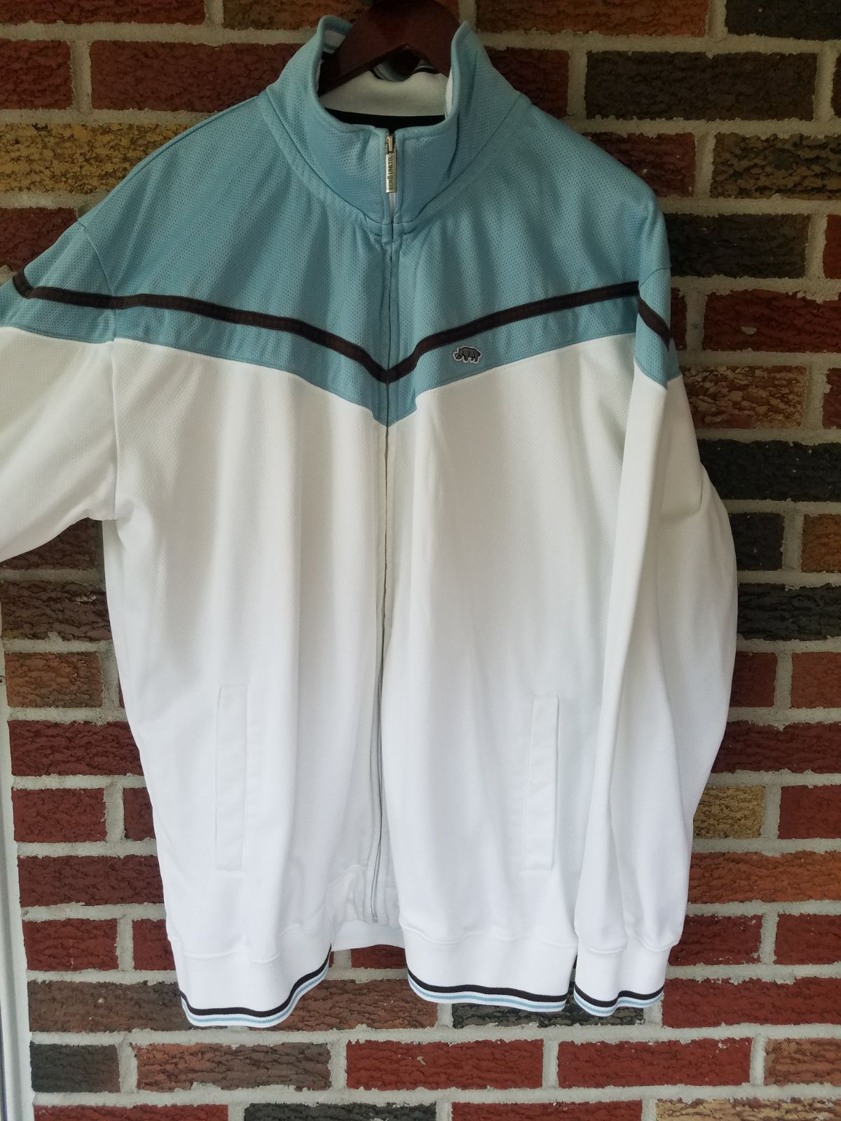 Ecko Unltd Mens Zip Up Jacket White Blue
