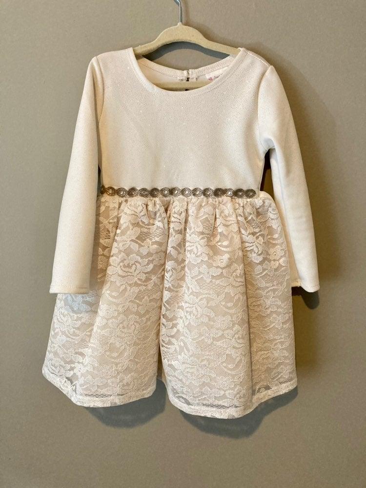 Girls cream glitter dress (4T)