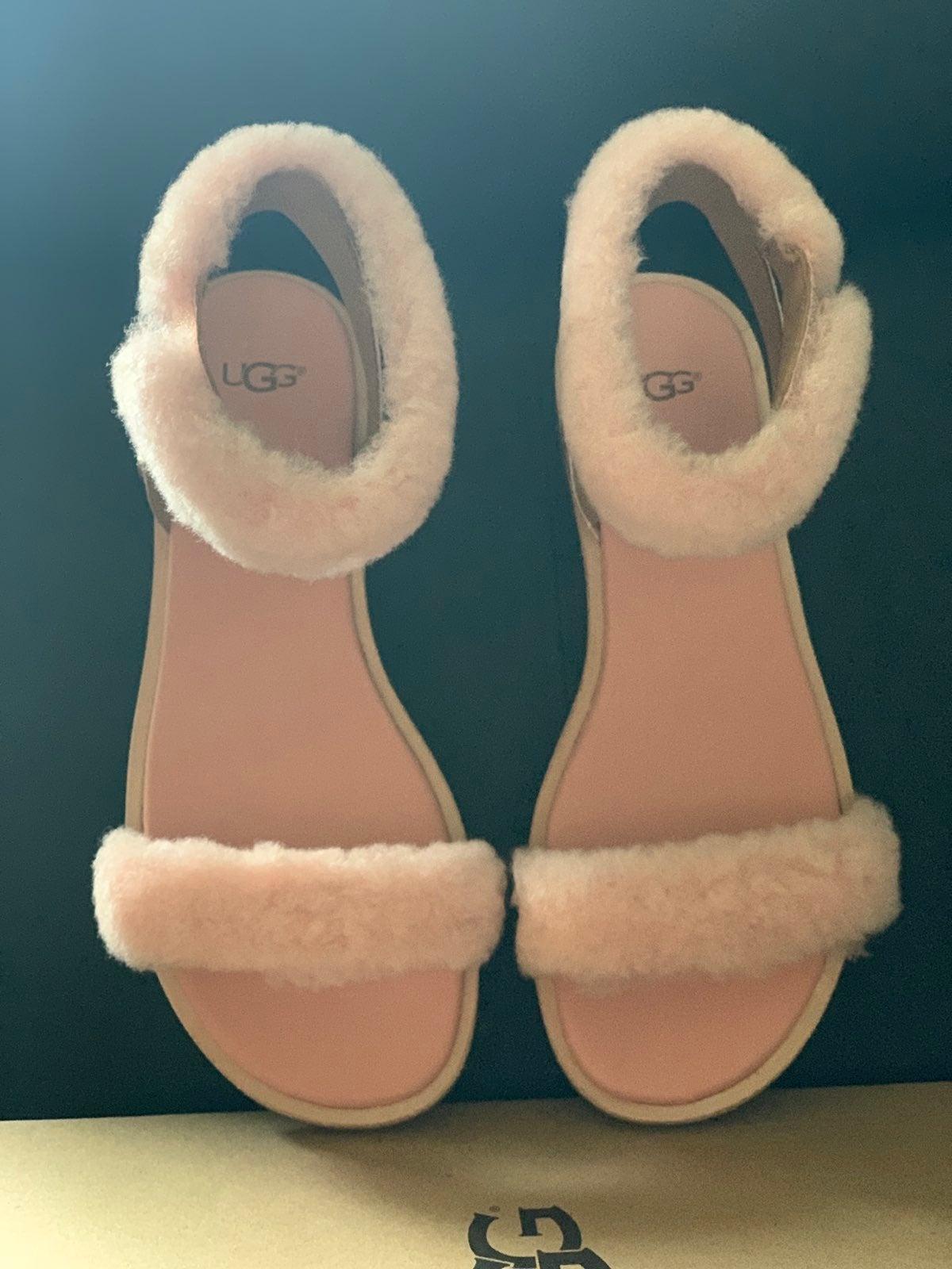 UGG Pink Fluff Sandals Sz 8