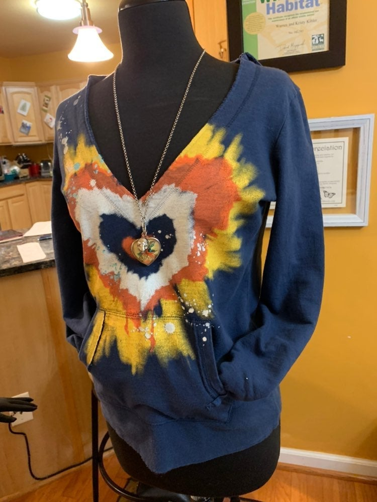 Mudd Tie-Dyed Heart Hoodie-Small