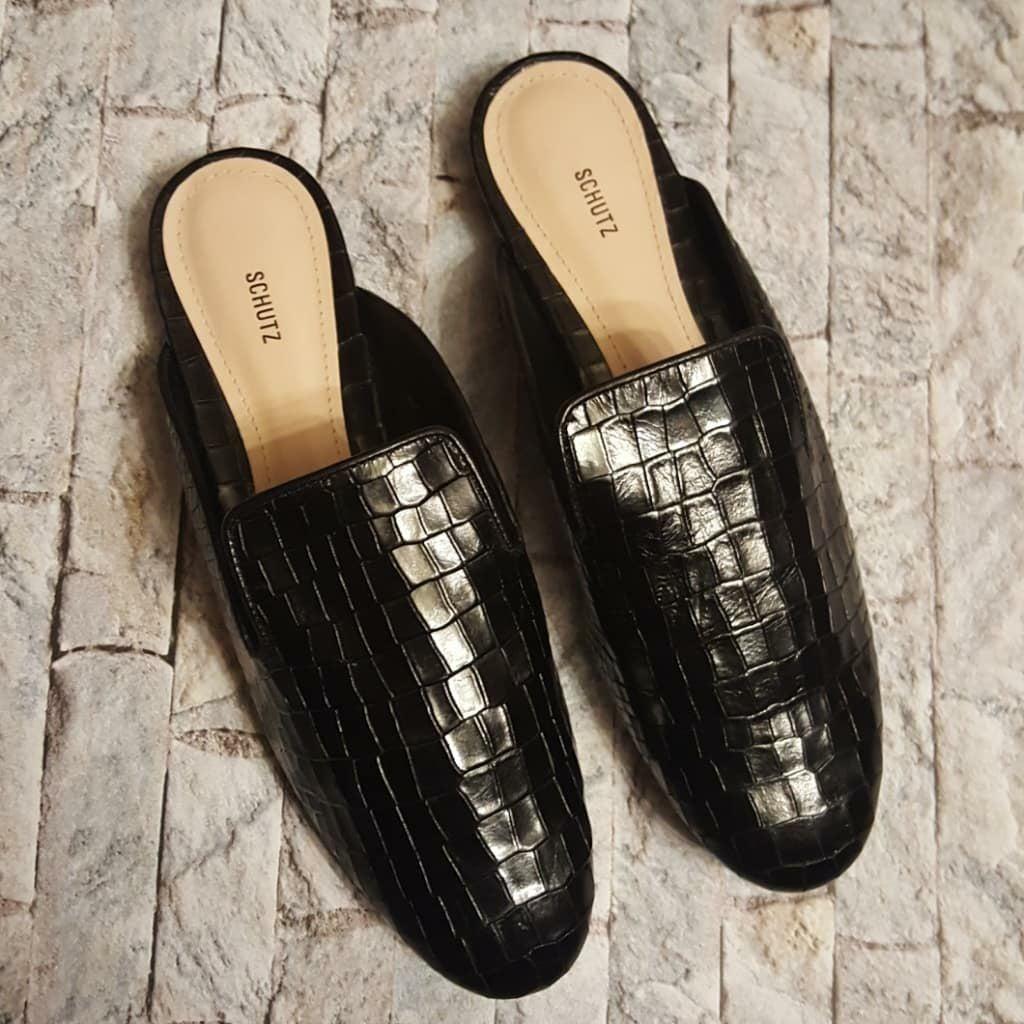 Schutz Avamel Black Leather Loafers