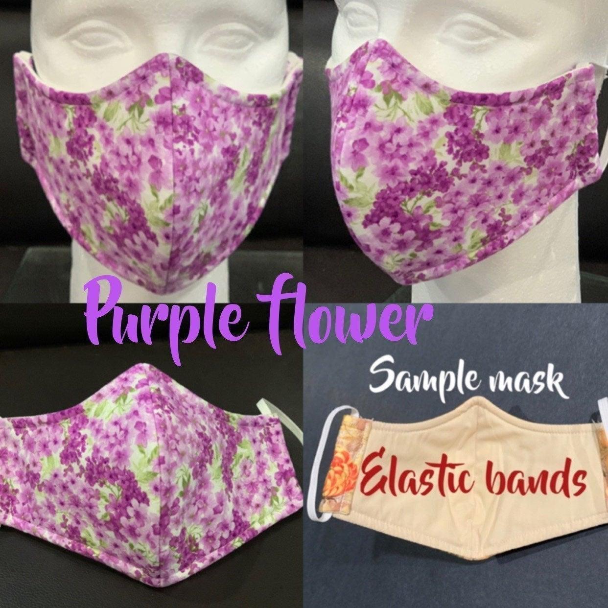 Purple flowers adult  face mask