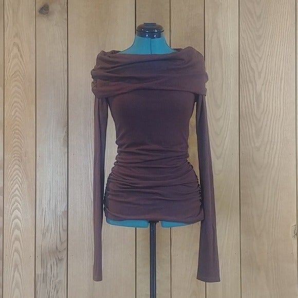 Rue21 Brown Cowl Long Sleeve Tunic Top S