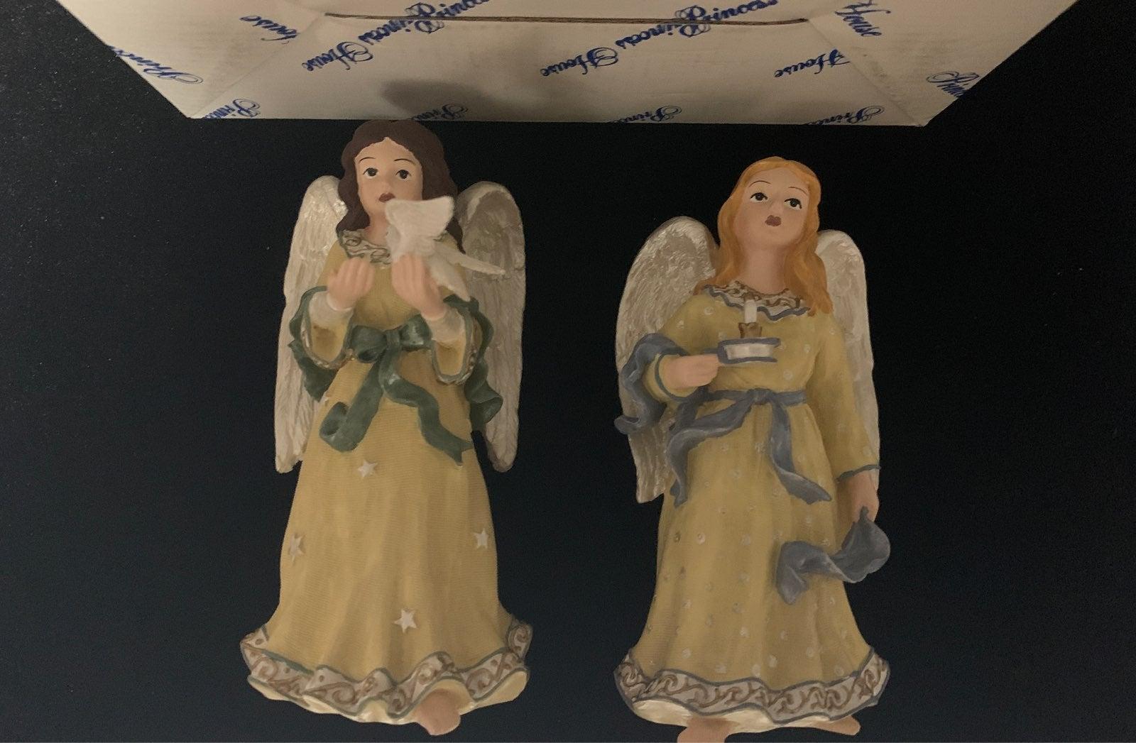 Princess house Pair of Angel Figurines