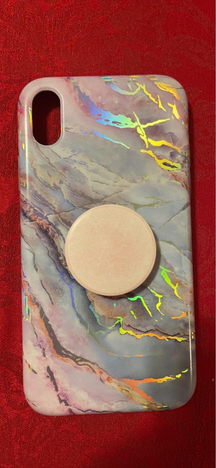 Velvet Cavier marble case with PopSocket