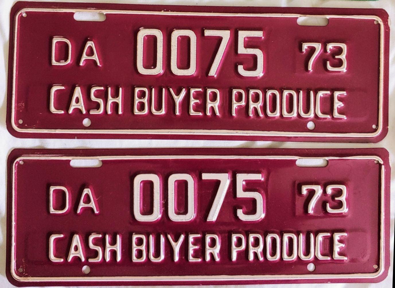 License Plate 1973 DA Cash Buyer Produce