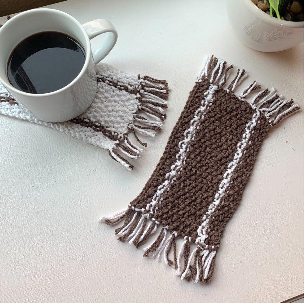 Hand Knit Mug Rug Cup Coaster Dark Brown