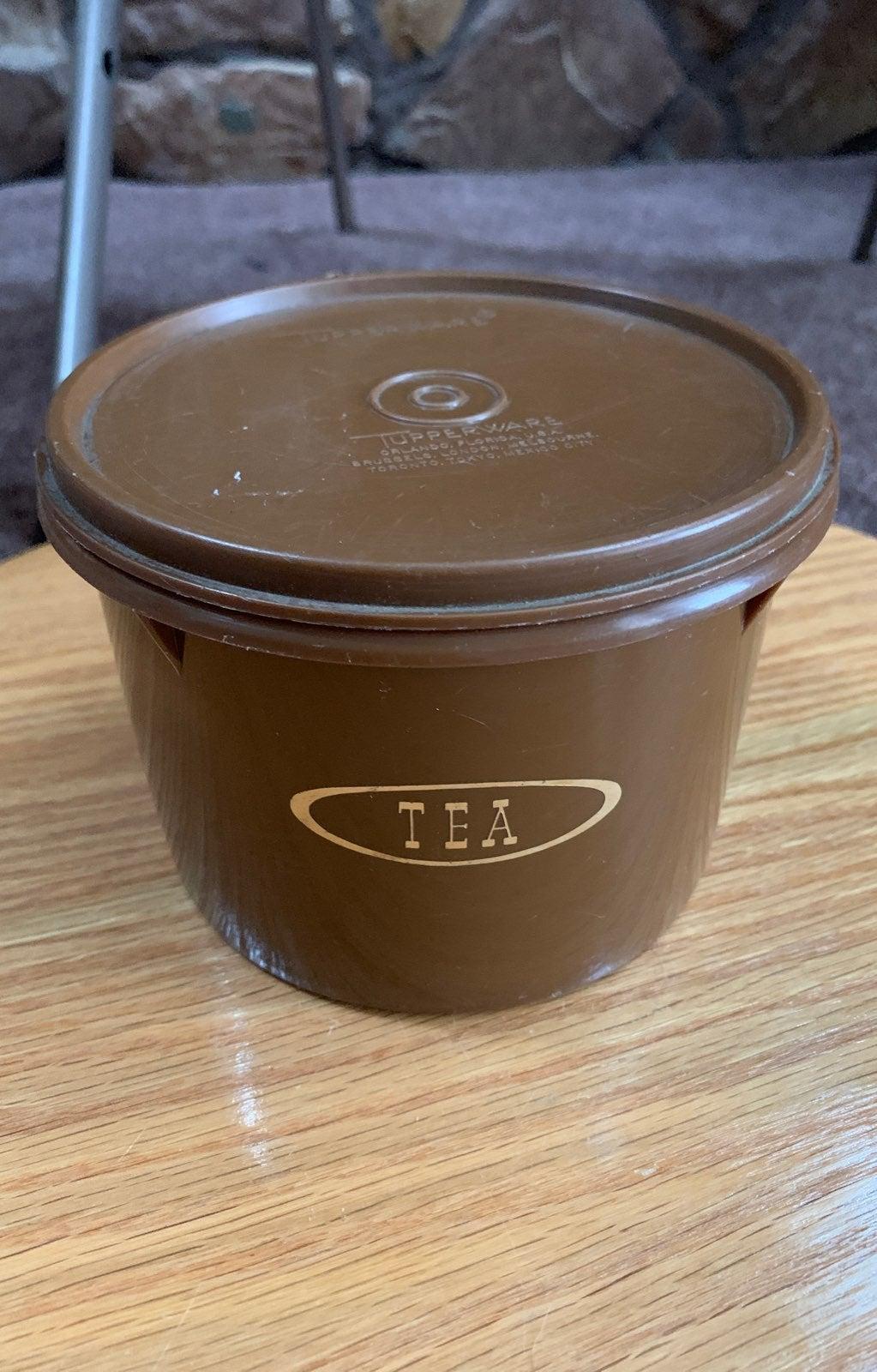 Tupperware tea canister vintage brown