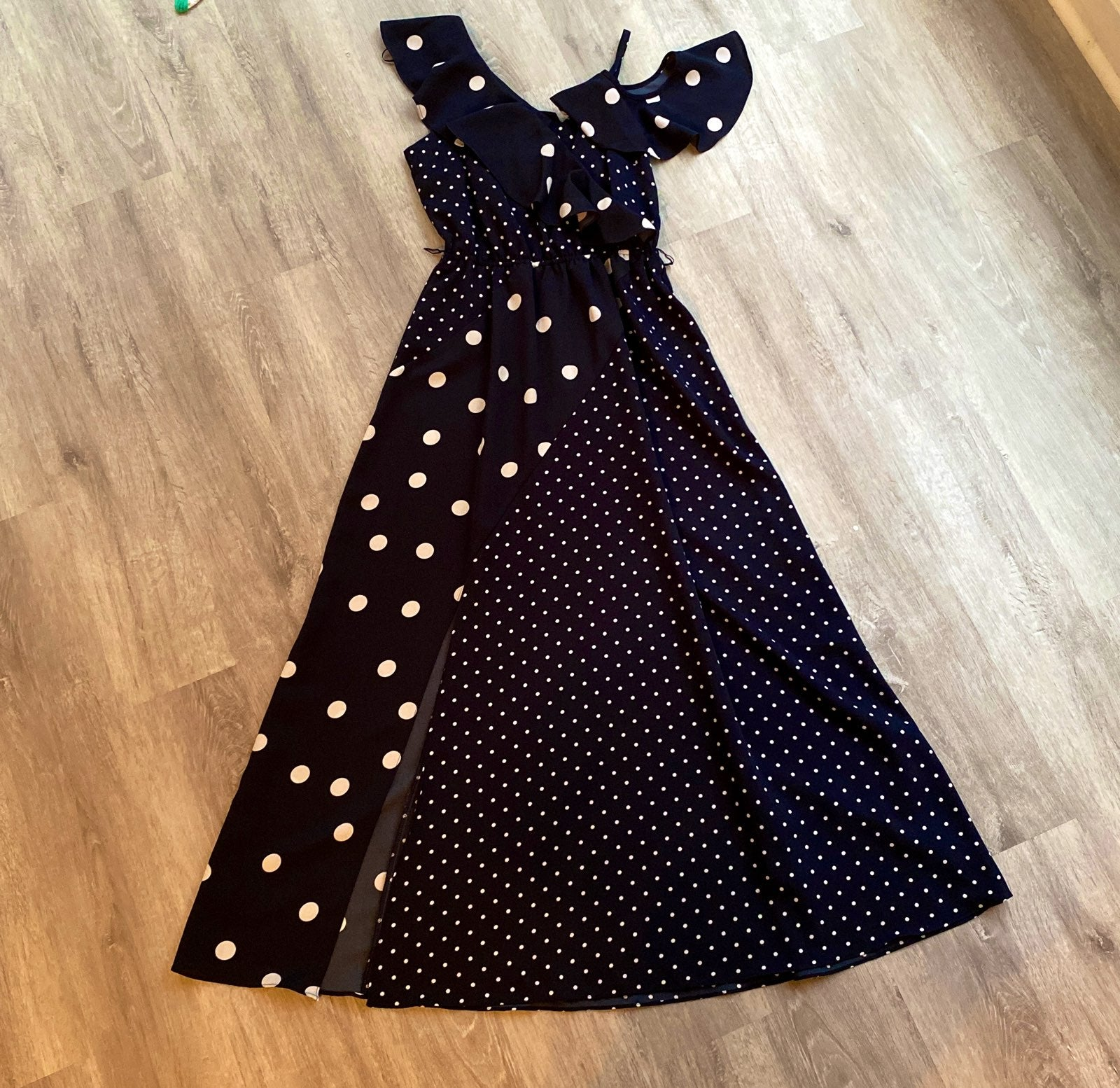 Bar III navy white polka dot dress