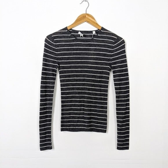 Vince Gray Striped Wool Ribbed Knit Tee