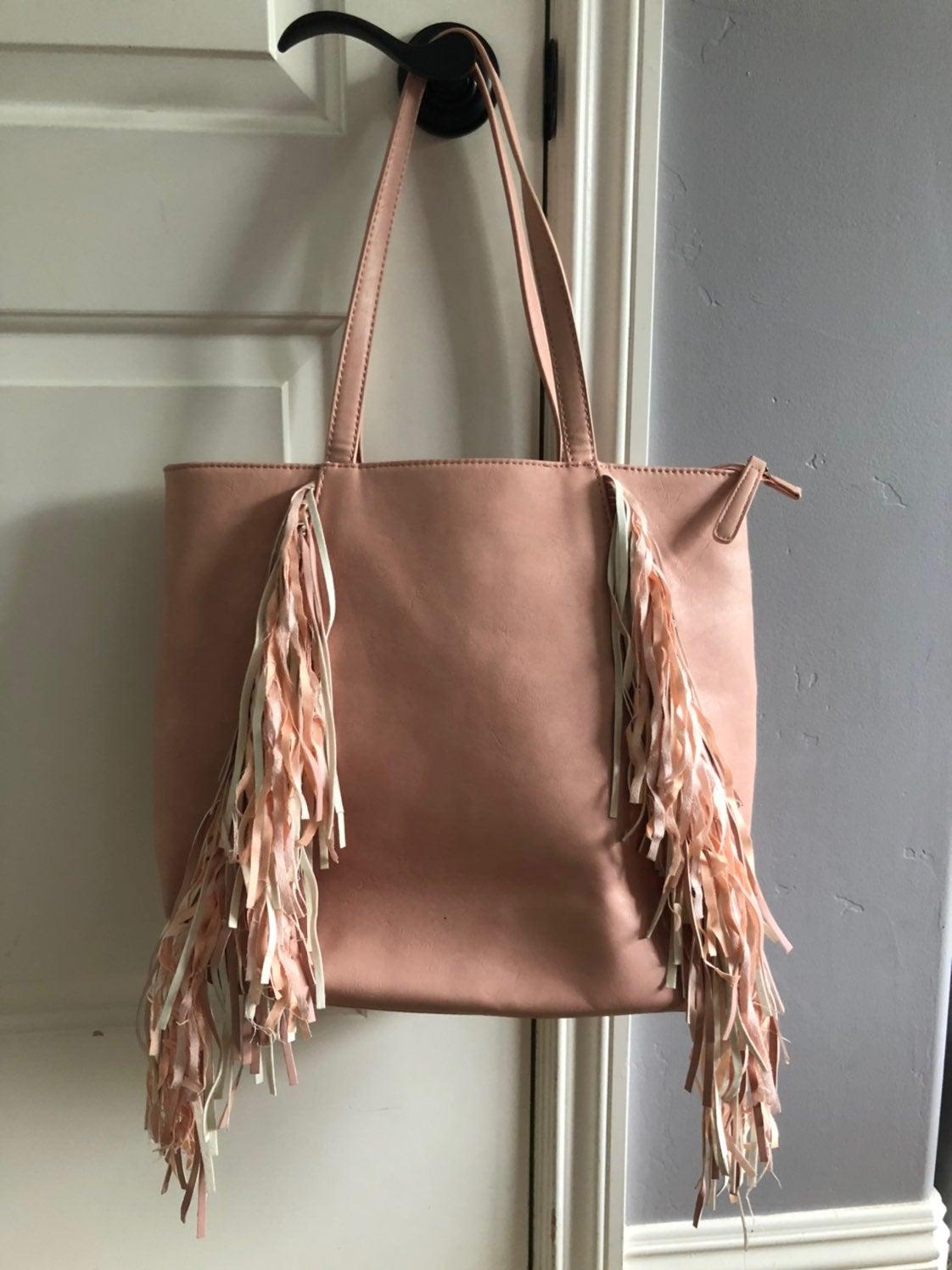 Pink fringe purse