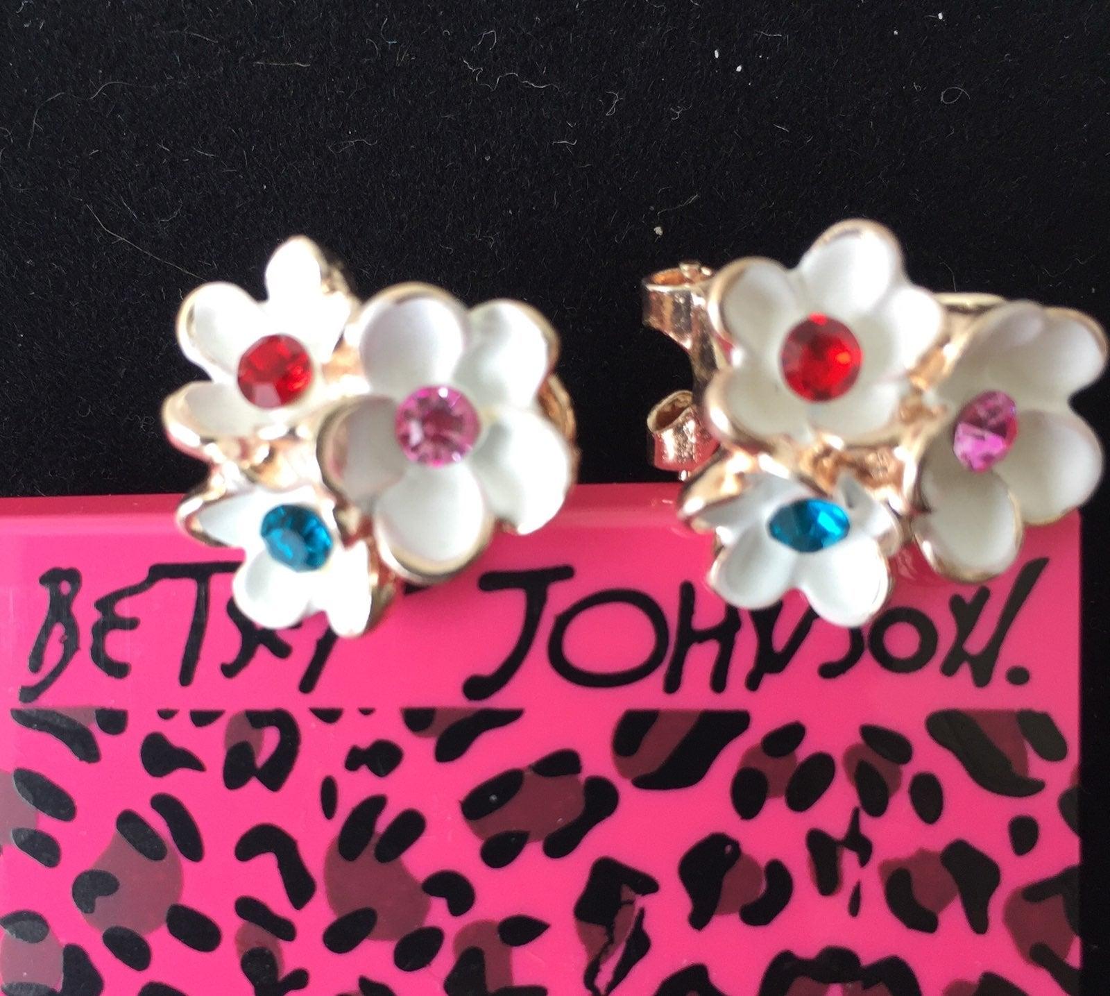 Betsey Johnson Flower sparkly earrings