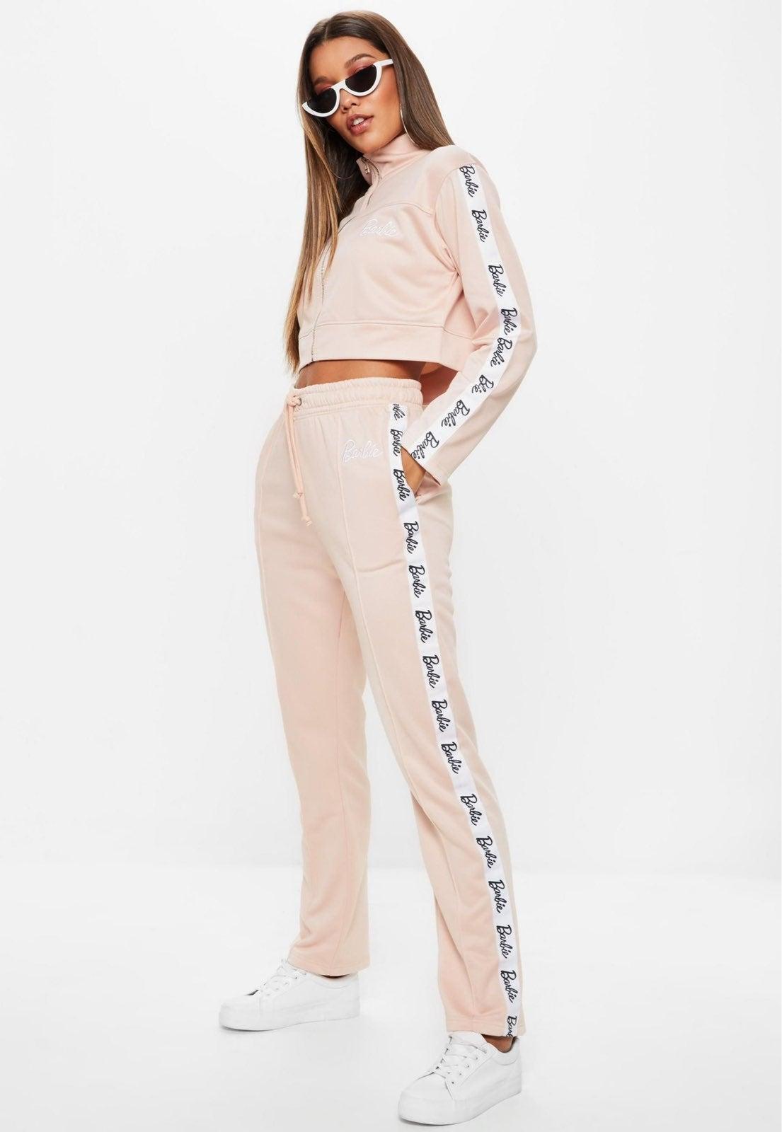 Missguided X Barbie stripe track Pants