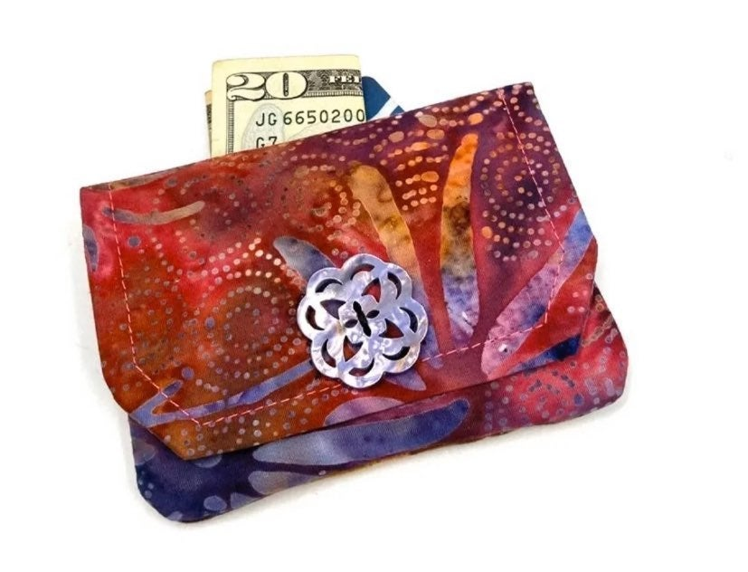 Multi-Color Batik Card Wallet- Handmade