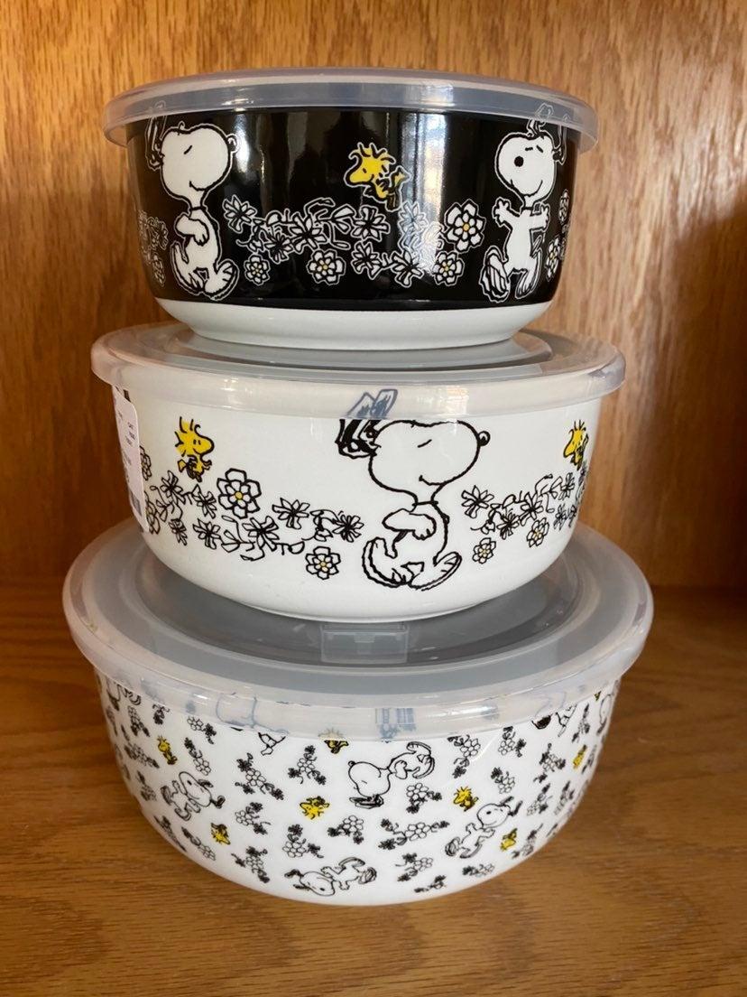 NEW Peanuts Snoopy Woodstock 3 Piece Ceramic Bowl Set