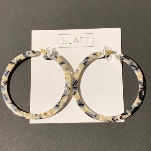 Slate Brand Hoop Earrings