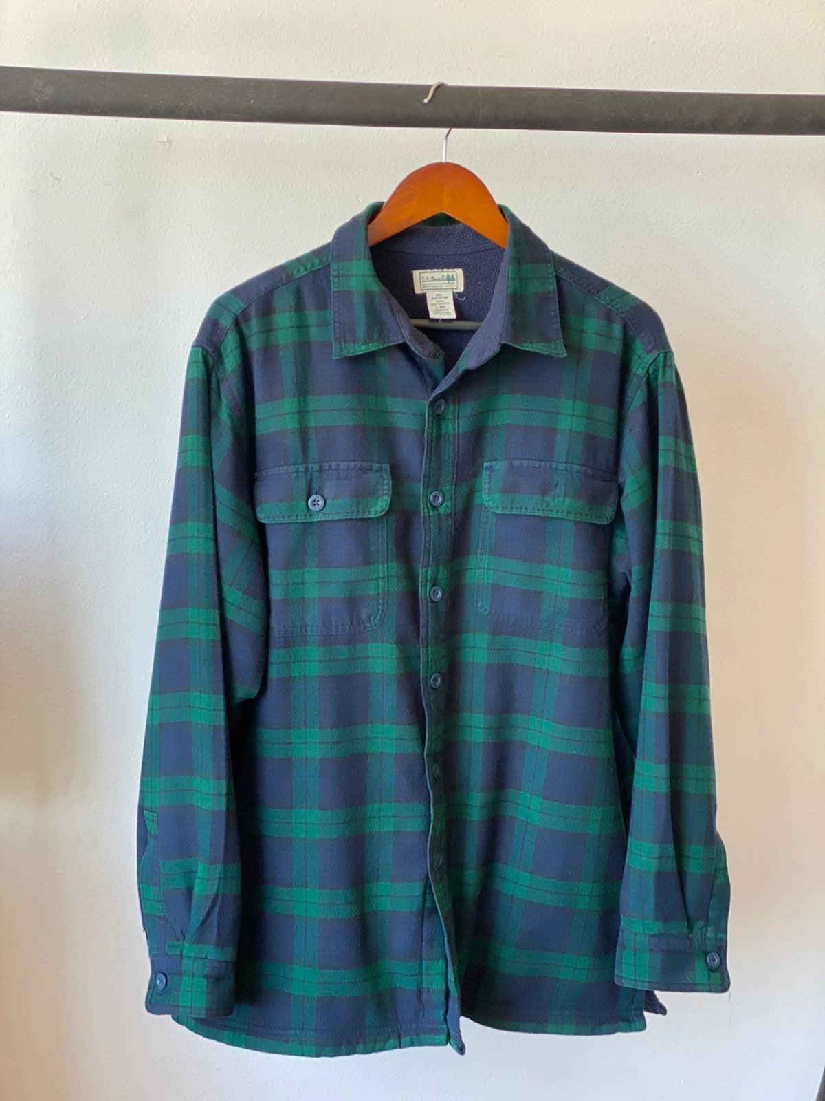Vtg 90s L.L. Bean Fleece Flannel Sz L