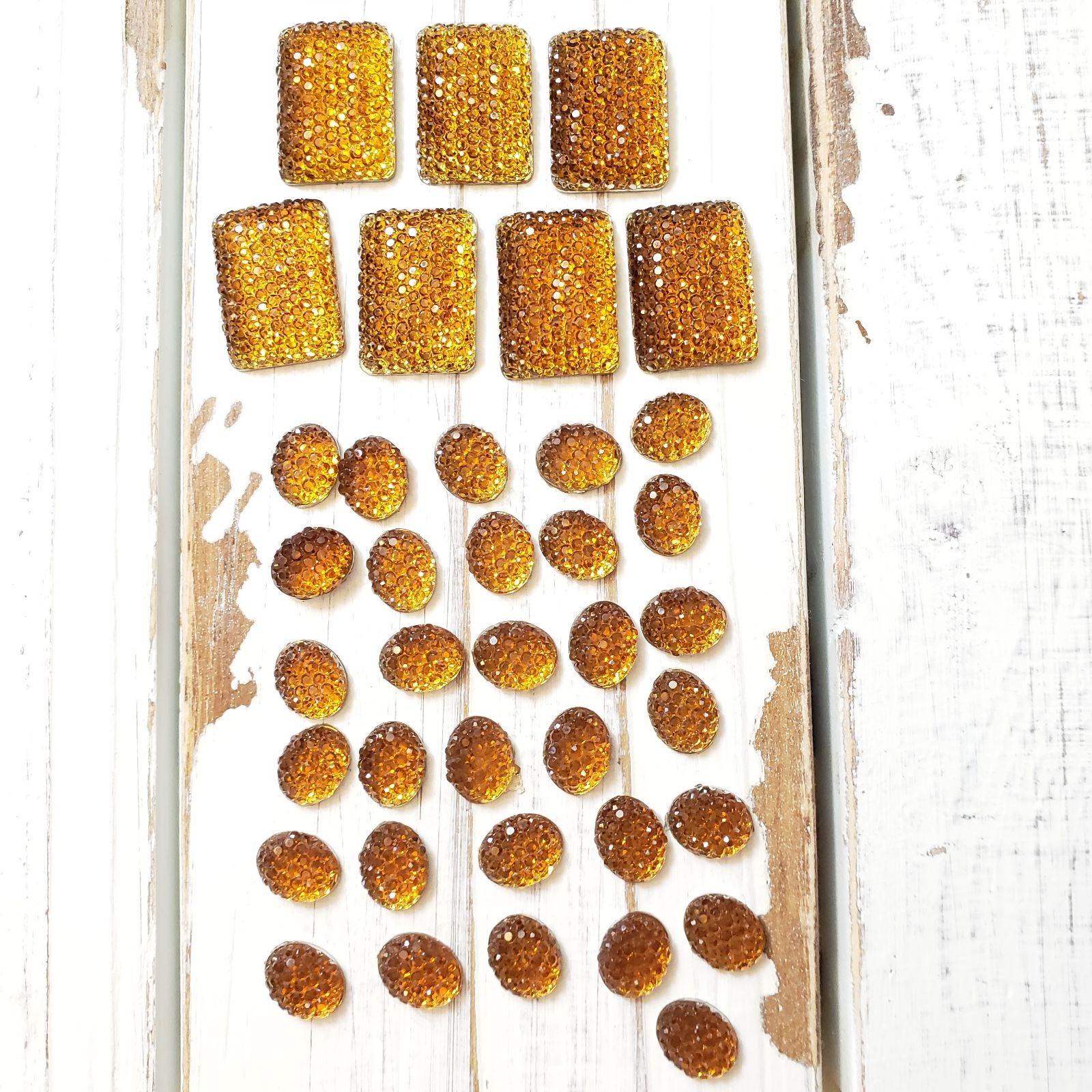 Amber Acrylic Flat Back Gems Jewels