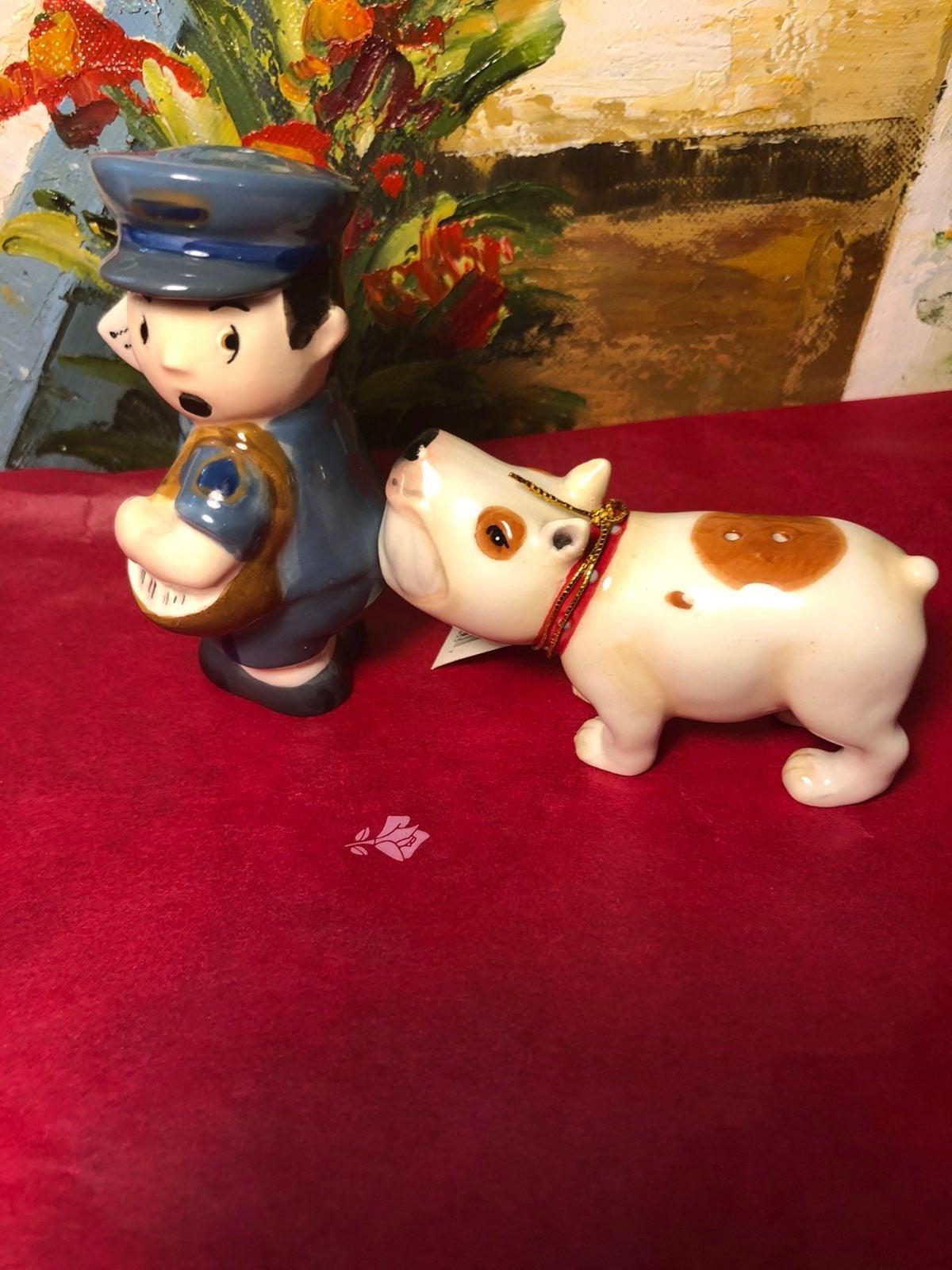 Ceramic Mailman and Dog Magnetic Salt an
