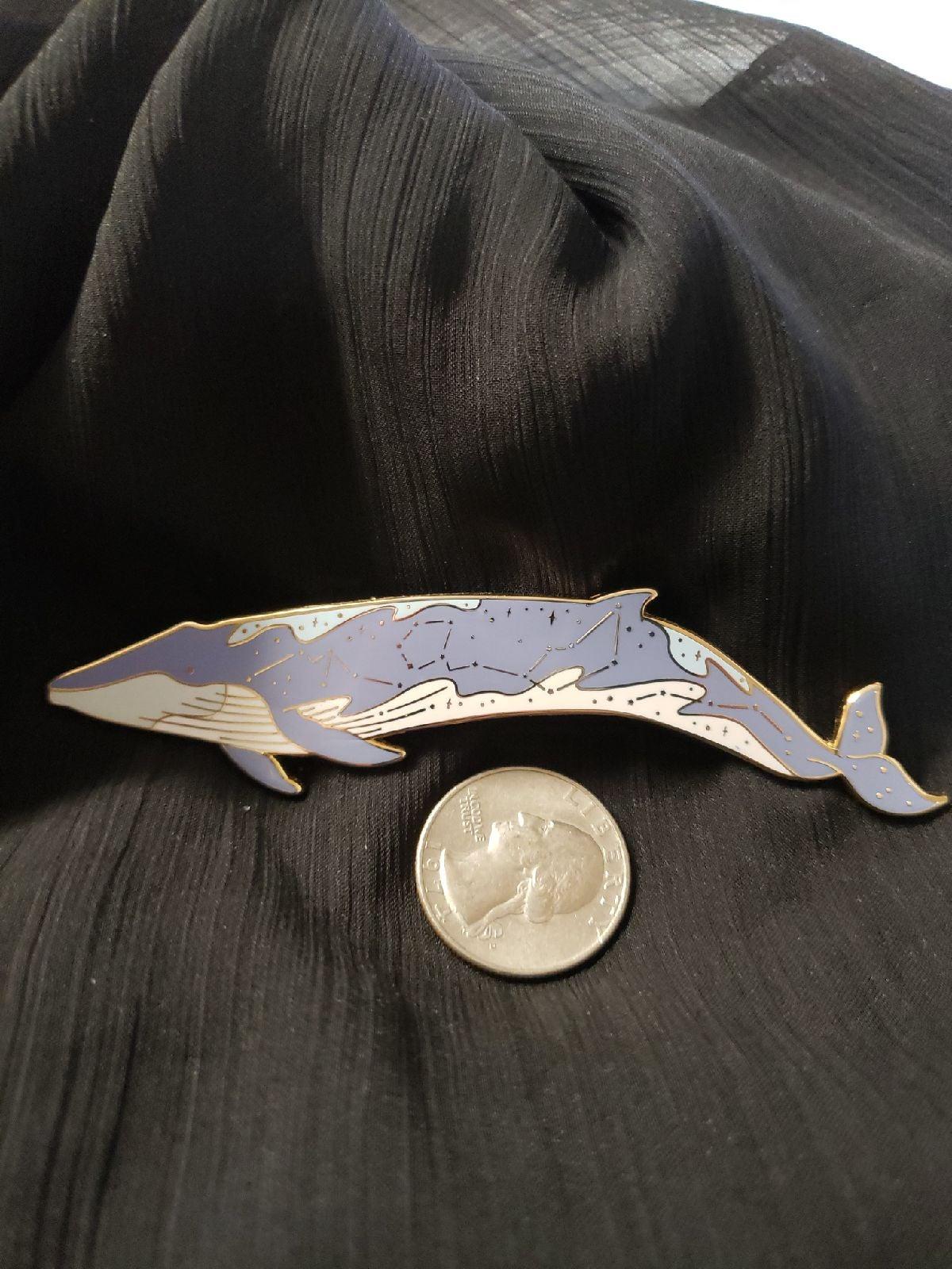 Galaxy whale enamel pin