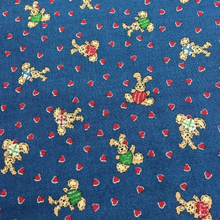 Easter Fabric, Hearts and Rabbits, Bunny Patch by Fabri-Quilt 100% Cotton 1/2 YD