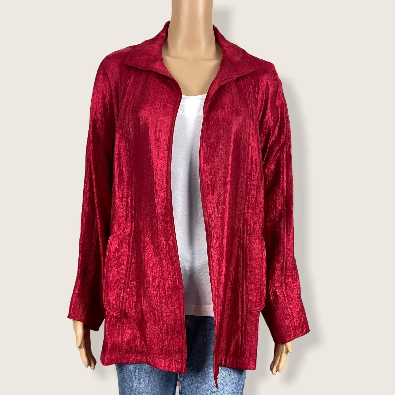 Chico's Blazer Jacket Shiny Red Metallic