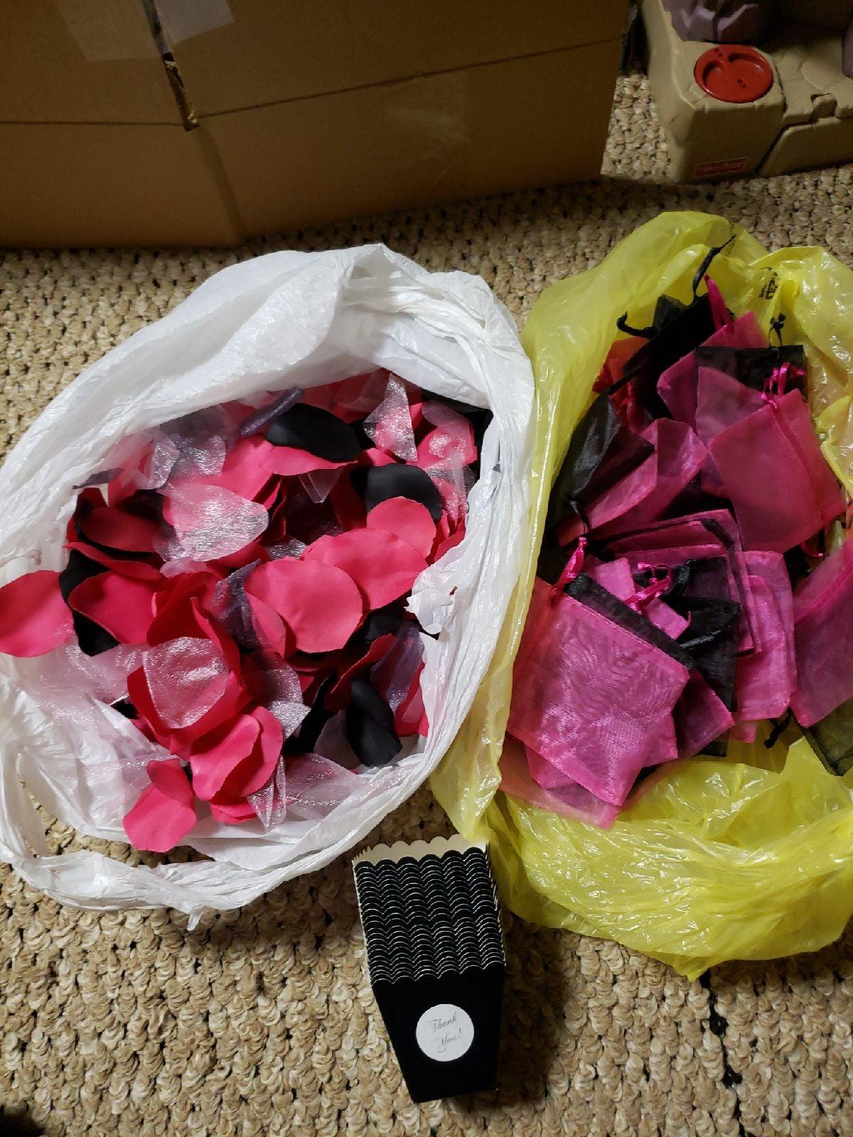 Pink and black wedding supplies