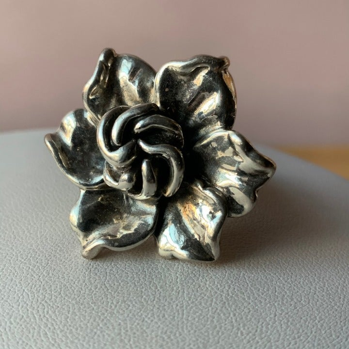 Sterling Silver Statement Flower Ring