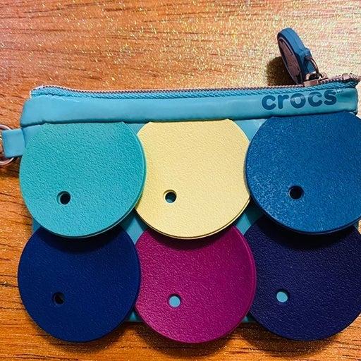 Multicolored croc coin purse