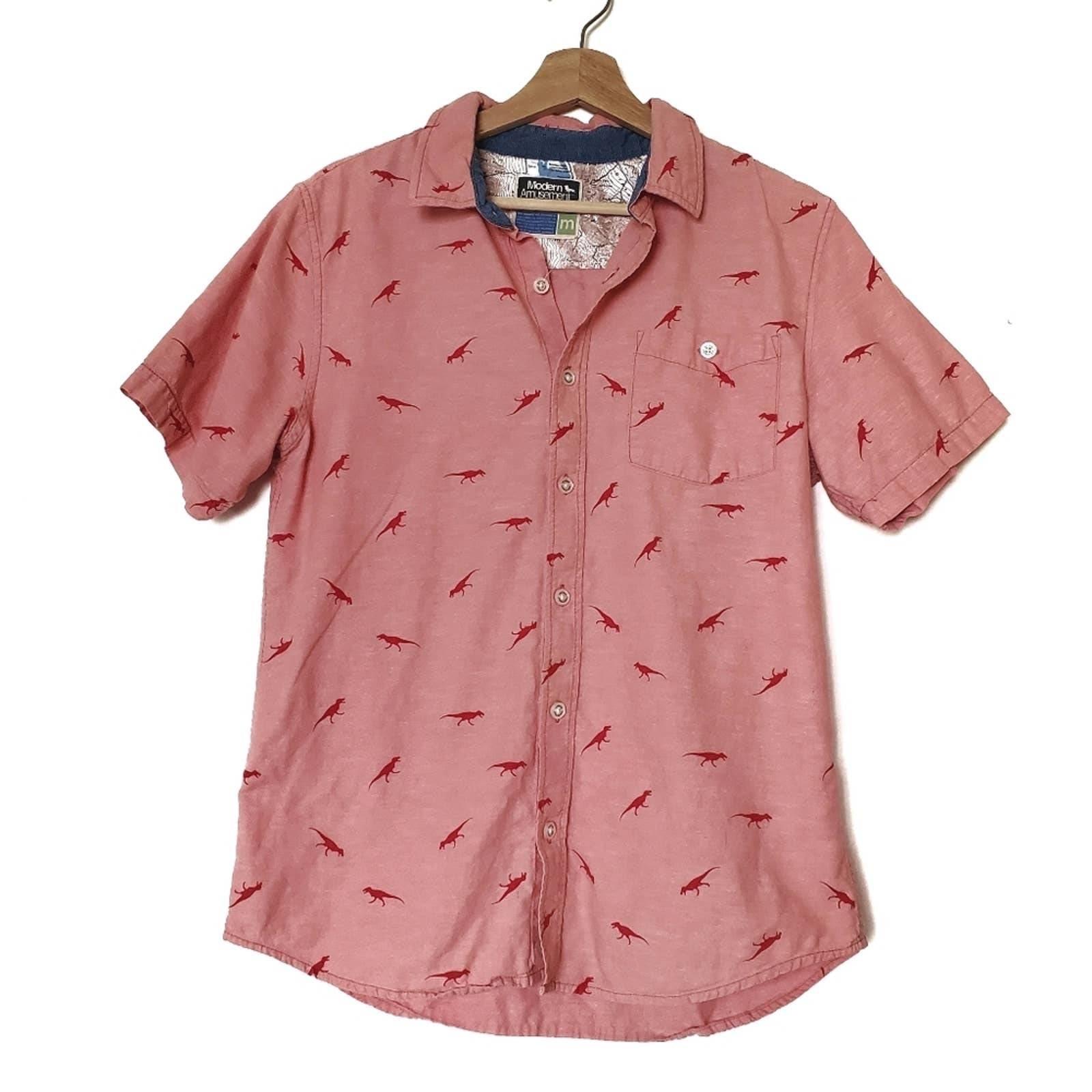Linen Blend Dinosaur Trex Shirt