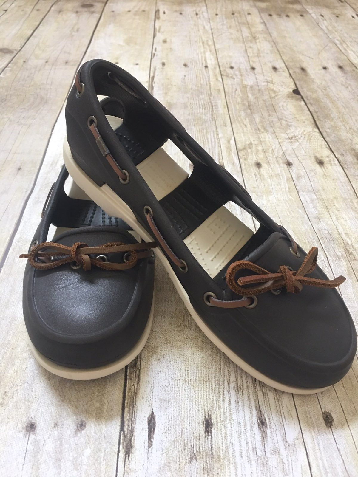 Crocs Brown And Cream Boat Shoes