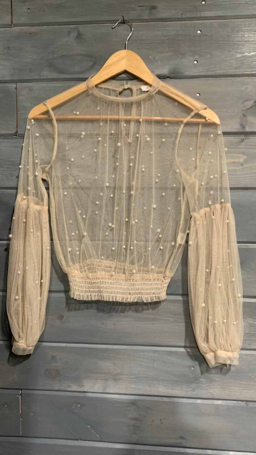 Sheer pearled blouse