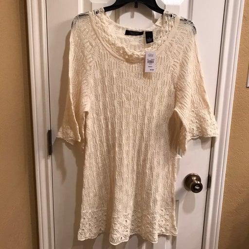 Crystal Kobe Crochet Tunic Sweater NWT
