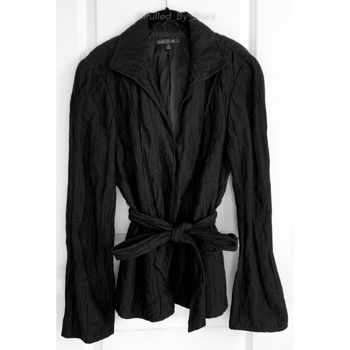 Metallic Black Crinkled Blazer Jacket