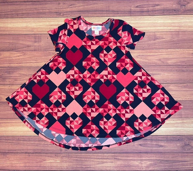 Lularoe Girls Geometric Heart Dress 2