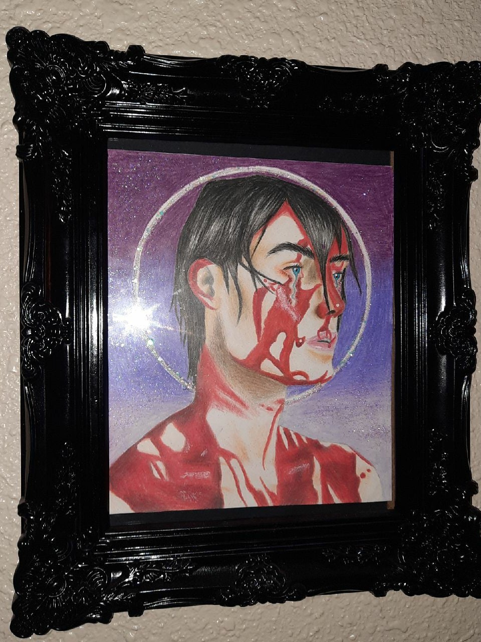 Creepy trippy drawing with frame