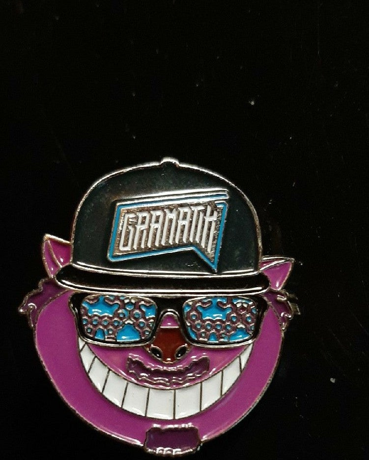 Gramatik & cheshire cat hat pin