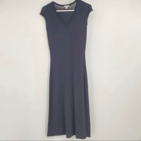Halogen V Neck Black Midi Dress Fitted B