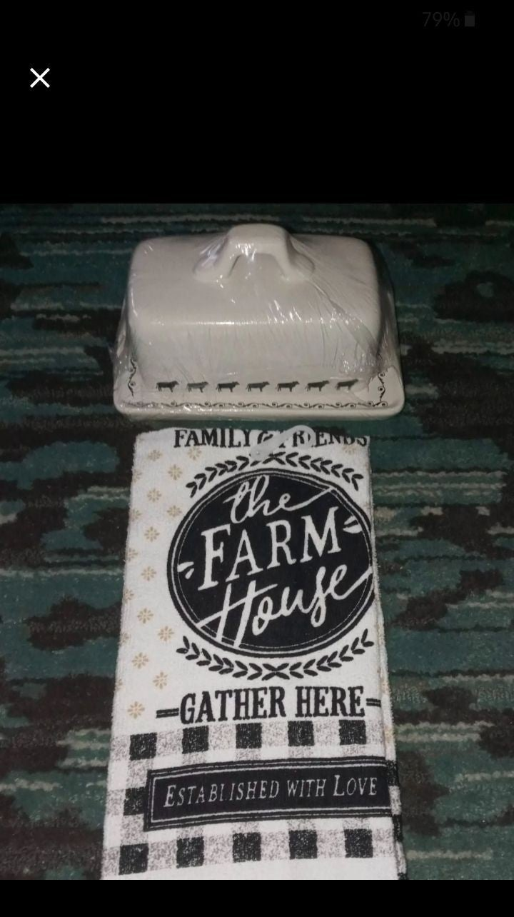 Farmhouse fresh cow butter dish and towe