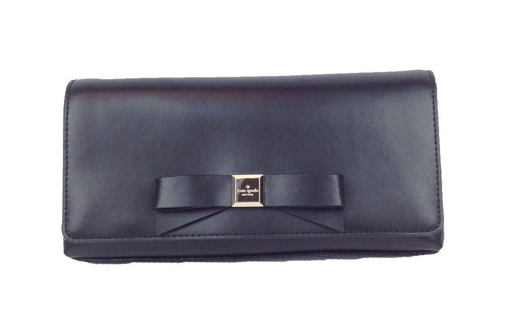 Kate Spade Kiera Leather Bow Clutch - Bl