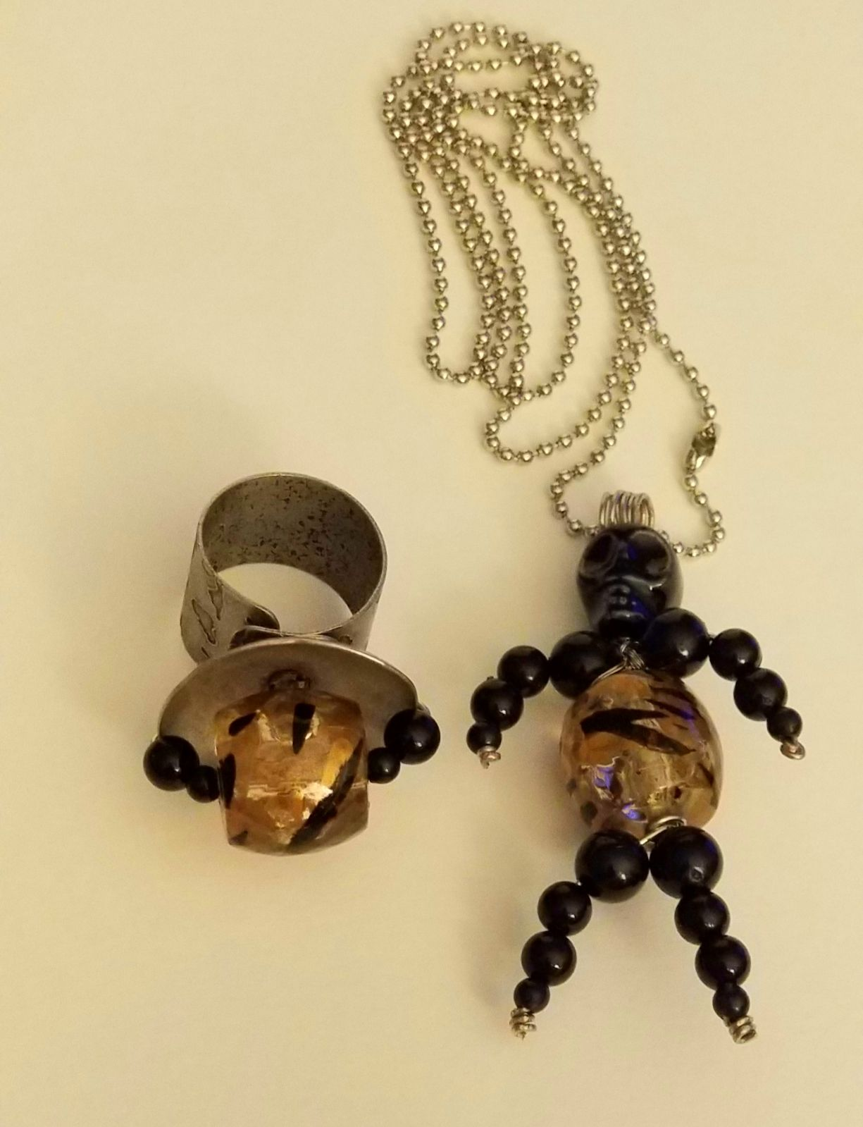 SKULL JEWELRY NECKLACE & ADJUSTABLE RING