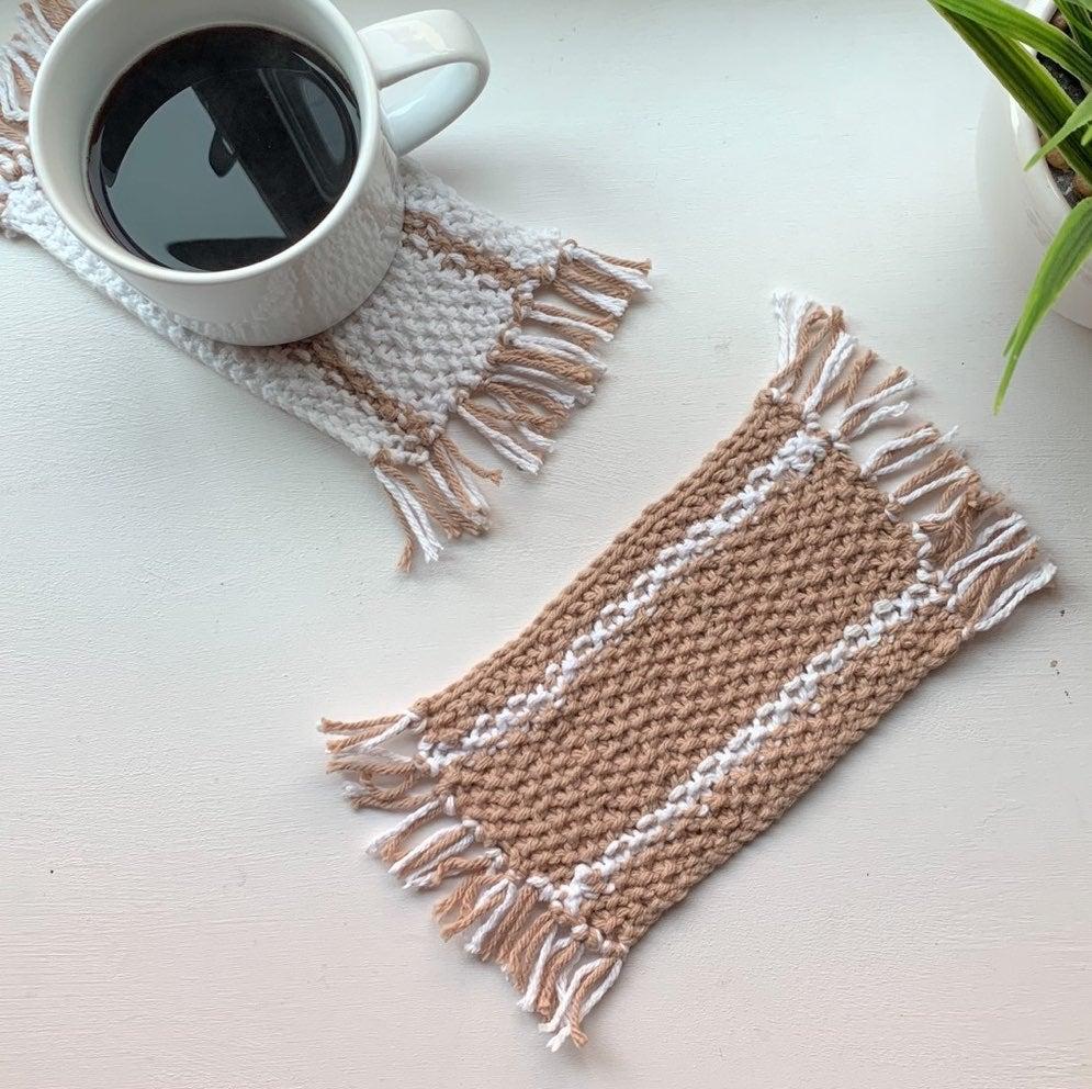 Hand Knit Mug Rug Cup Coaster Tan/White