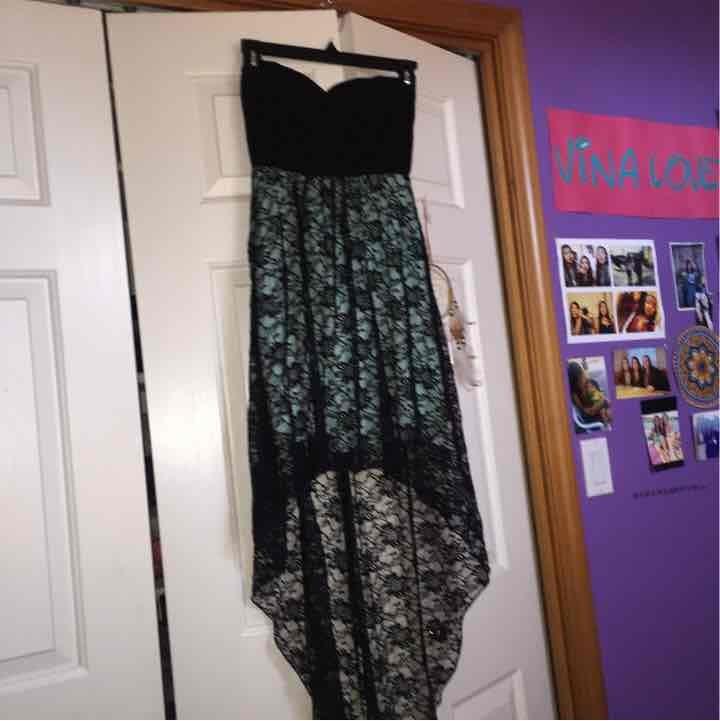Hi-low teal/green dress size small