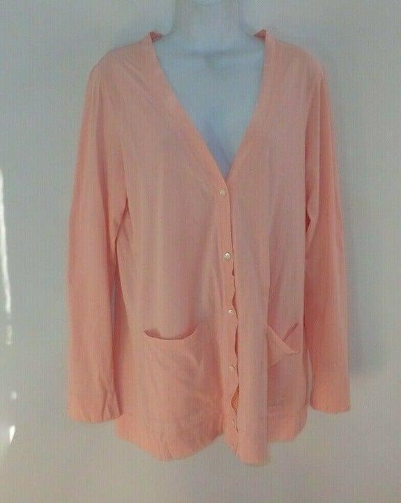 Garnet Hill Cotton Cardigan Pink L Women