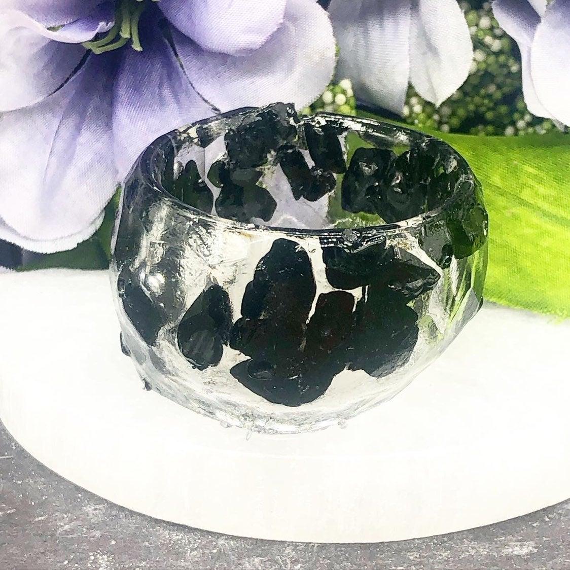 Black tourmaline and resin bowl